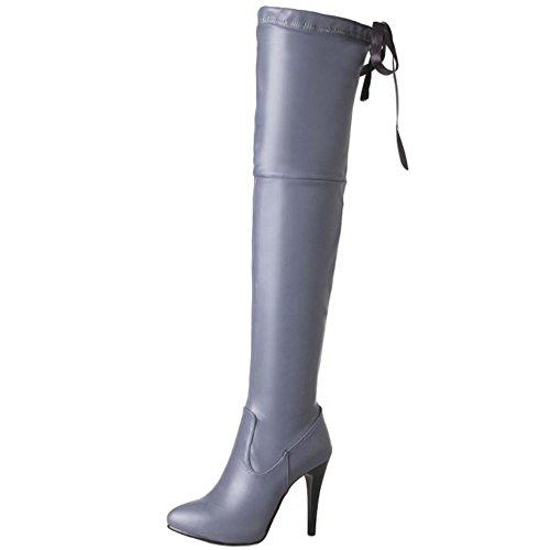 Alto Mujer height Pointed Srbqswd Zanpa Botas Zapatos Grey xAI0aqw