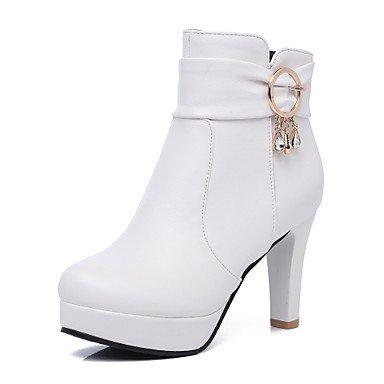 CN36 UK4 Casual Mujer Otoño RTRY EU36 Talón Botines Botines Puntera Hebilla Zapatos Botas Para Chunky US6 Marrón Invierno Redonda Botas Polipiel Negro De Moda Vestimenta UXxgqxSw