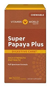 Chewable Protein Wafer - Vitamin World Super papaya plus Digestive Care High Strength Enzymatic 180 delicious chewable wafers