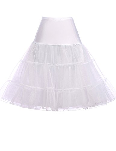 GRACE KARIN Cancan Petticoat Crinoline Swing Skirts for Women (M,White)