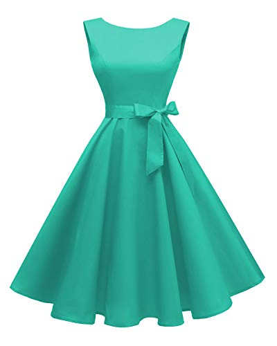 Hanpceirs Women's Boatneck Sleeveless Swing Vintage 1950s Cocktail Dress Tiffany ()