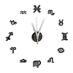 Zzyff Beautiful Manual Assembly DIY Classical Arabic Numerals Wall Stickers Children's Room Wall Decoration Wall Clock Simple Practical (Color : Black)
