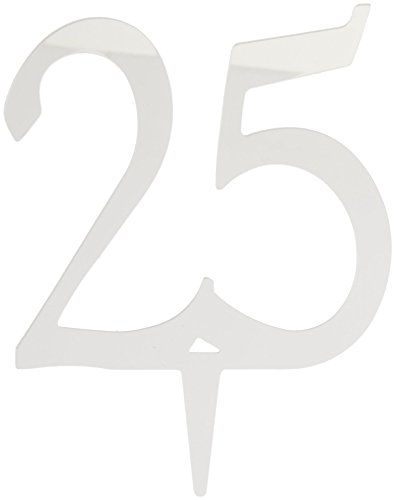 Darice VL325NUM Mirror Acrylic Number 25-Cake Topper with Stake, Silver, 4-Inch ()