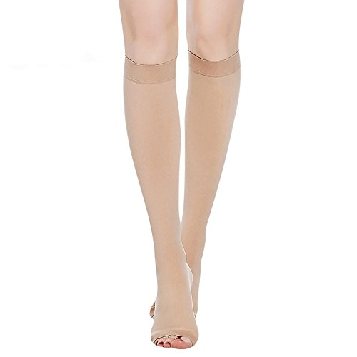 PPXGOGO Knee High Compression Socks for Men & Women. Edema, Varicose Veins, Travel, Pregnancy, Medical Nursing (20-30mmHg) Best Compression Stockings.(Nude-Open-M)