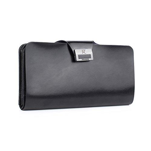 Kattee Genuine Italian Soft Leather Purse Slim Long Clutch Wallet for Lovers (Black Soft Italian Leather Billfold)