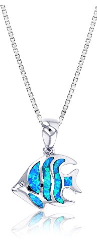 Angel Fish Necklace - Sterling Silver Synthetic Opal Angel Fish Necklace Pendant With 18