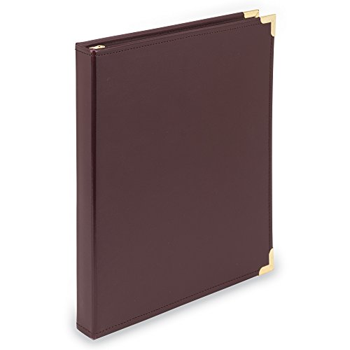Samsill 15114 Classic Collection Executive Presentation 3 Ring Binder, Half Inch Brass Round Ring (Holds 125 Sheets), Burgundy - Executive Burgundy Leather