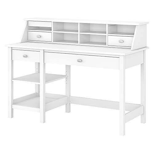 Bush Furniture Broadview Computer Desk with Open Storage & Desktop Organizer in Pure White