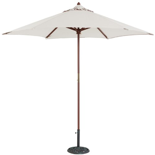 TropiShade 9 ft Wood Market Umbrella with Antique White Polyester Cover - White Patio Umbrella