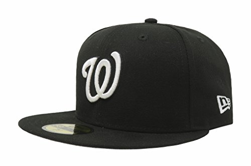 MLB Washington Nationals Black with White Logo 59FIFTY Fitted Cap, 7 3/8