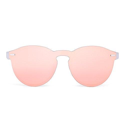 JIM HALO Rimless Polarized Sunglasses for Women Men Round One Piece Mirror Lens (Transparent Frame/Polarized Mirror Pink Lens)