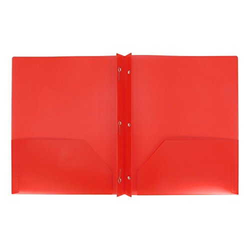 2 Pocket Plastic folders with 3 Prong Fasteners (Pack of 3) (RED)