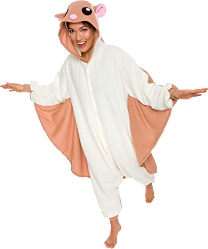 Silver Lilly Unisex Adult Pajamas - Plush One Piece Cosplay Flying Squirrel Animal Costume (S)]()