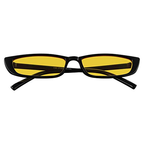 Small Rectangle Sunglasses Mens Womens Fashion Color Tone Skinny Frame Sunglasses (Yellow) (Sonnenbrille Embleme)
