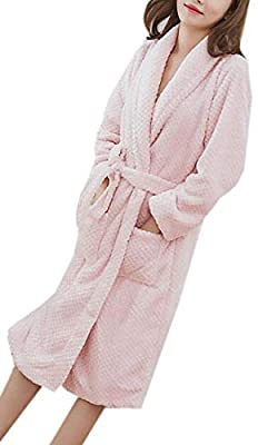 Nanquan Women Winter Flannel Cozy Nightwear Warm Bathrobe Nightgown Pajama Spa Robe