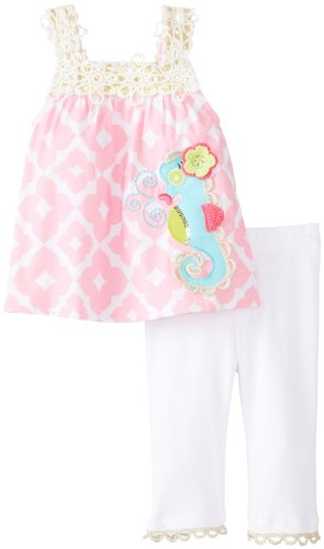 Mud Pie Girls' Baby-Newborn Seahorse Tunic and Legging, Pink/White, 6-9 Months