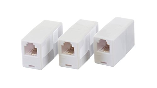 3 Pack Telephone - THE CIMPLE CO Telephone Cord Coupler by Phone In Line Coupler | 4 Conductor (2) Telephone Lines – 3 Pack (WHITE)