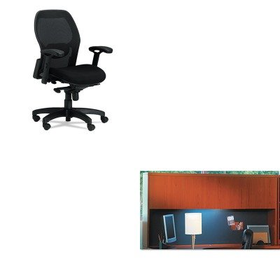 Wood Mercado Mayline - KITMLN3200MLNAHW72LCR - Value Kit - Mayline Aberdeen Series Laminate Wood Door Hutch (MLNAHW72LCR) and Mayline Mercado Mid-Back Mesh Chair (MLN3200)