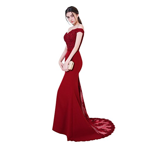 Women Elegant V-Neck Backless Burgundy Long Lace Mermaid Evening Prom Dress With Beads, (Celebrity Inspired Prom Gowns)
