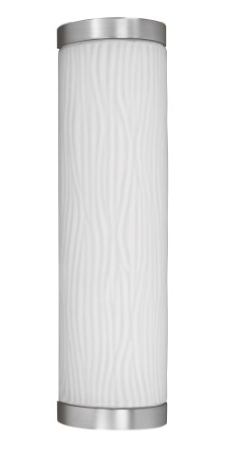 Lighting by AFX FUW213SNEC Fusion Outdoor Sconce, Unique Smooth White Glass Diffuser with Satin Nickel End Caps, 26W 19H