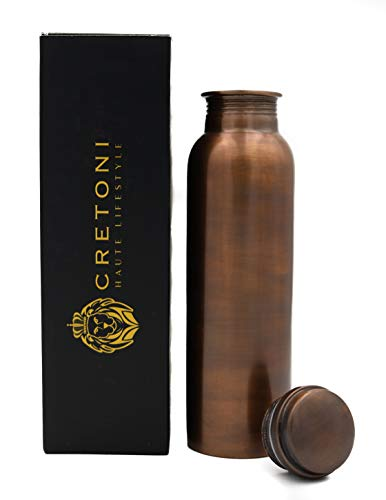 CRETONI Antique-Series Pure Copper Water Bottle : Smooth Straight Leak Proof Design : Perfect Ayurvedic Copper Vessel for Sports, Fitness, Yoga, Natural Health Benefits (900 Milliliter/30 Ounce)