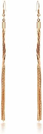 megko Women's Rhinestone Copper Super Long Tassels Drop Dangle Party Linear Earrings Gold Plated