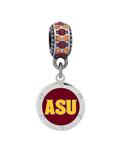 Arizona State University Crystal Charm Fits European Style Large Hole Bead Bracelets