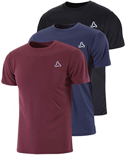SILKWORLD Men's 3 Pack Mesh Quick-Dry Short Sleeve Workout Shirt,Black, Navy Blue, Maroon, Large
