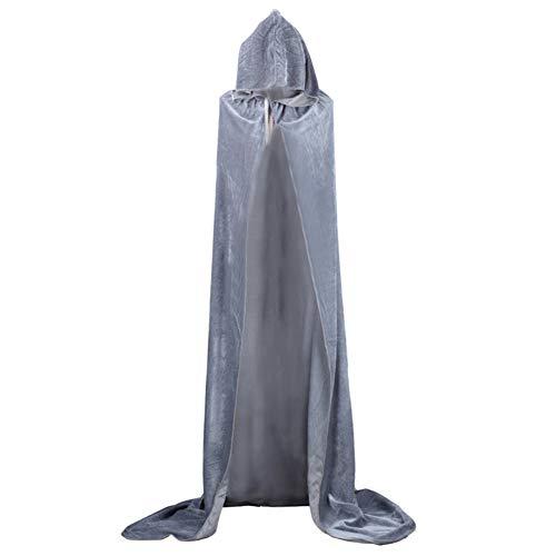 KSDN Unisex Halloween Hooded Cape Cloak Vampire Devil Medieval Cosplay Costume Gray M -