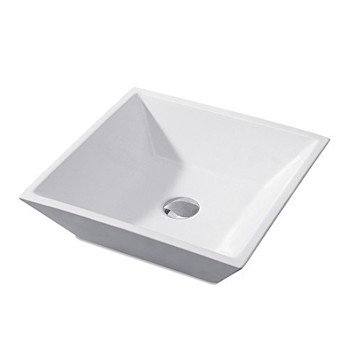 KES Bathroom Square Porcelain Vessel Sink Above Counter White Countertop Bowl Sink for Lavatory Vanity Cabinet Contemporary Style, BVS111