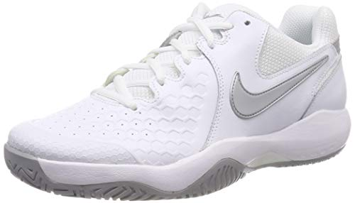 Zoom Leather - Nike Women's Air Zoom Resistance Tennis Shoes (8 B US, White/Metallic Silver)