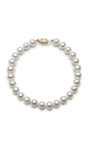 14k Yellow Gold AAA-Quality 8.0-8.5mm Cultured Freshwater Pearl Strand Bracelet, 8'' by Pearlzzz