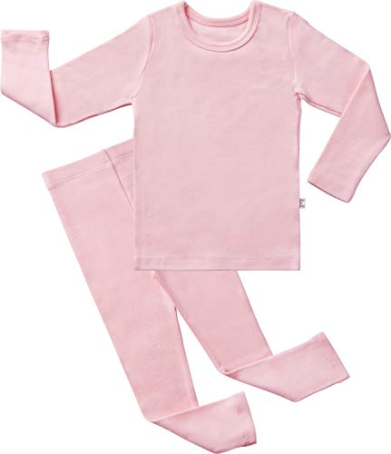 (AVAUMA Baby Boys Girls Solid Pring Pj Set Kids Pajamas Long Sleeve Cotton (Spring Pink-1 X-Small))