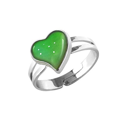 Heart Shaped Mood Ring Can Change The Color And Adjustable The Size Of The Decorations (Heart Shaped)