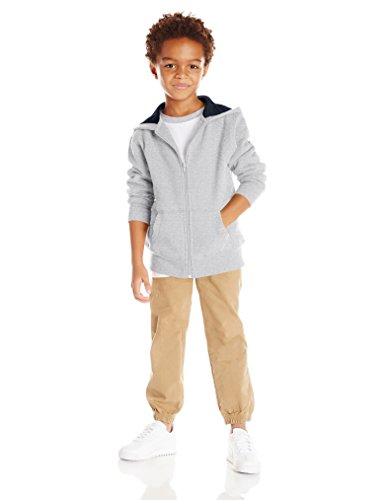 Scout + Ro Big Boys' Basic Fleece Hooded Jacket, Grey Heather, 14 by Scout + Ro (Image #4)