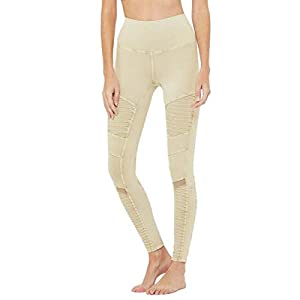 ALO High-Waisted Washed Moto Leggings Sandstone Acid Wash SM 29