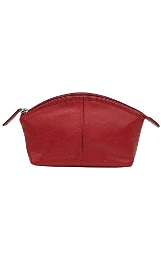 - CCFW Womens 100%m Genuine Leather Cosmetic Pouch (Red)