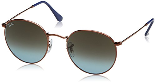 Ray-Ban RB3447 Round Metal Sunglasses, Shiny Dark Bronze/Brown Gradient, 50 ()