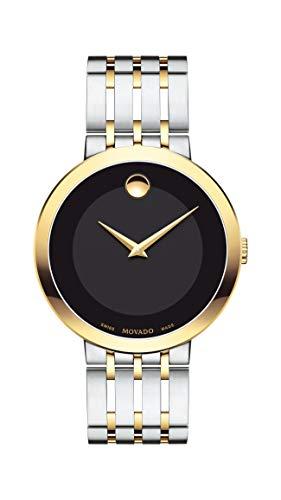 - Movado Men's Esperanza Two Tone Watch with Concave Dot Museum Dial, Silver/Gold/Black (Model 607058)