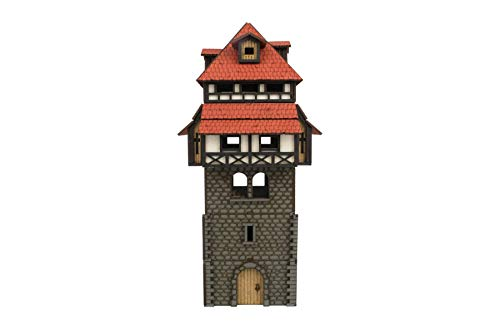 War World Gaming Medieval Town Guard Tower (Painted / unpainted) - 28mm Scale Fantasy Wargame Model Terrain
