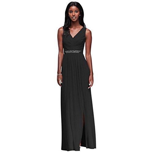 Waistband and Long with Style Beaded Bridal Black Dress W11092 V Neck David's Bridesmaid Mesh wq8UWS1v6