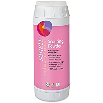 Sonett Organic Biodegradable Scouring Powder Cleaner with Pumice 450g / 16oz Made from pumice stone, suitable for ceramic glass stove tops, pots, ovens and plastic garden furniture