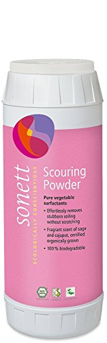 Sonett Organic Biodegradable Scouring Powder Cleaner (16 oz) Very Effective Cleaning Agent for Ceramic Glass, Grease as Well as Burnt Left-Overs are Easily Removed Without Scratching The Surfaces.