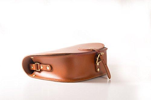 GlŠnzend Himbeerfarben Rosa Echtes Leder-Sattel Crossbody Handtasche mit Wšlbungs-Verschluss und justierbarem BŸgel