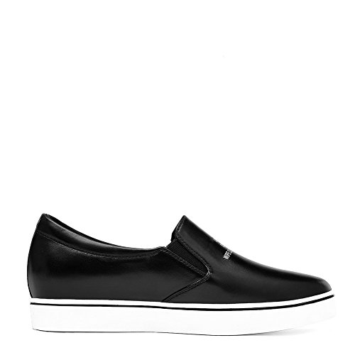 Black Shoes SDC04830 Casual Round Loafers Womens AdeeSu Flatform Toe Leather Z8BzwnS0