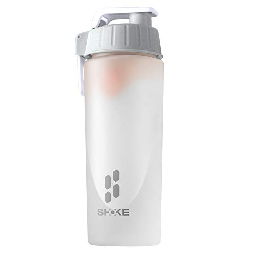 SHOKE Frosted Protein Shaker Bottle, Non-Toxic Leak-Proof Sports Bottle, with Stirring Ball, 100% BPA-Free, 27 OZ Large Capacity, Used for Stirring Protein, Snacks, Coffee and Tea, Necessary for Sport