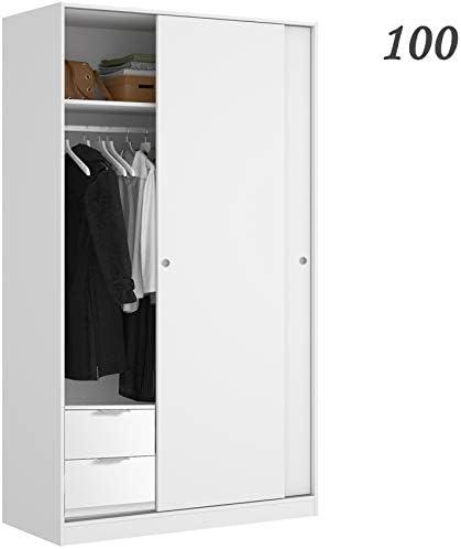 HABITMOBEL Armario Dormitorio 100 con CAJONERA Blanco Brillo, de 2 ...
