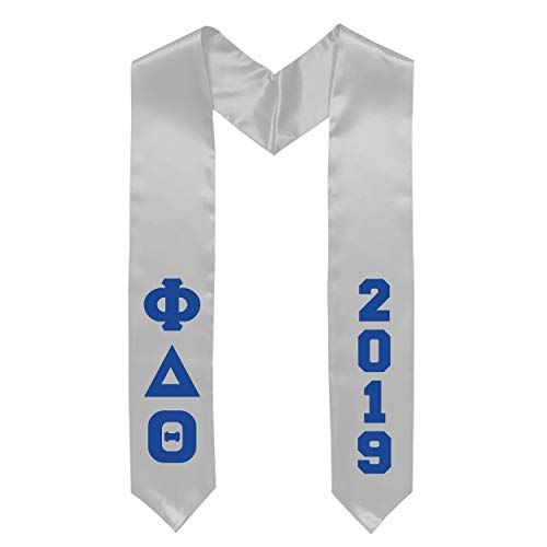 (2019 Phi Delta Theta Fraternity Greek White Graduation Stole with Royal Blue Letters Phi Delt)