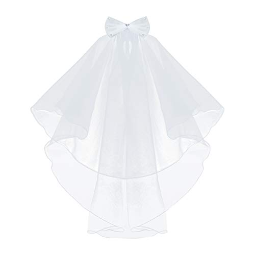 Girls' First Communion Veils Headband with Bow White Catholic Religious Embroidered Wedding Veil