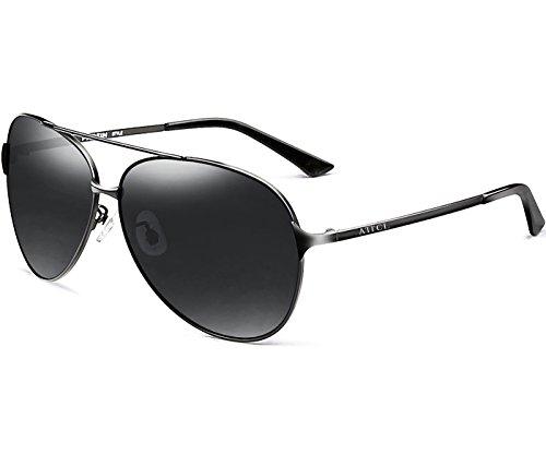 ATTCL® Klassische Piloten polarisierten Aviator Sonnenbrillen Herren Angeln Außen 8009 Black